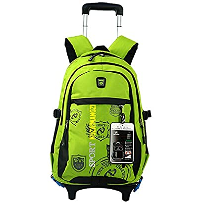 Lalawow Healthy Design 2 in 1 Sturdy Separable Boys Girls Waterproof Nylon School  Backpack with Wheeled Trolley Hand d23c9b21779bb