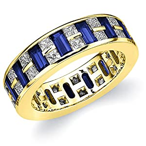 14K Yellow Gold Diamond & Sapphire Eternity Ring (3.75 cttw, F-G Color, VVS2-VS1 Clarity) Size 8.5