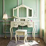 Tribesigns French Vintage Ivory White Vanity Dressing Table Set Makeup Desk...