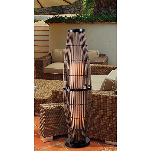 Kenroy Home 32248RAT Biscayne Outdoor Floor Lamp, Rattan Finish with Bronze Accents