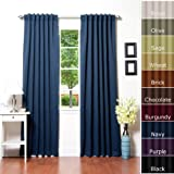 "Solid Thermal Insulated Blackout Curtain 95""L- 1 Set-NAVY"