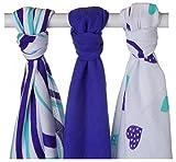 XKKO 8594161573203 - Pack de 3 muselinas de bamb�, dise�o corazones y ondas azules, 70 x 70 cm