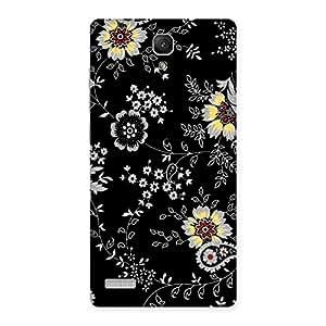 Ajay Enterprises BlackBG Flower Back Case Cover for Redmi Note Prime