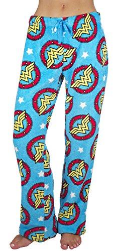Women's Wonder Woman Blue Cotton Plush Pajama Lounge Pants