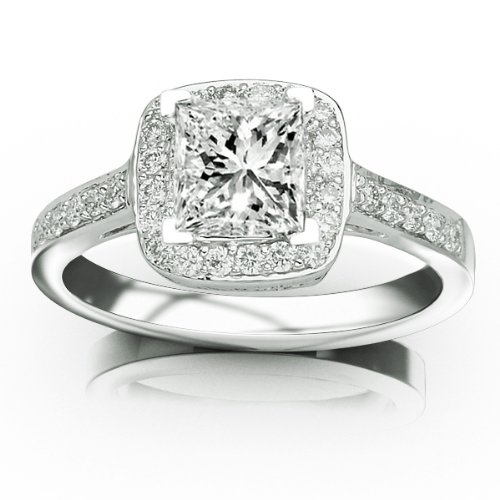 Classic Square Shape Halo Pave Set Round Diamond Engagement Ring with a 5 04