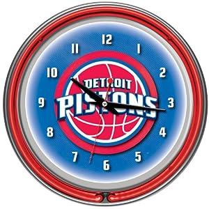 Detroit Pistons NBA Chrome Double Ring Neon Clock Detroit Pistons NBA Chrome Double... by Trademark Global