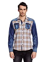 Redbridge Camisa Hombre (Azul / Camel)