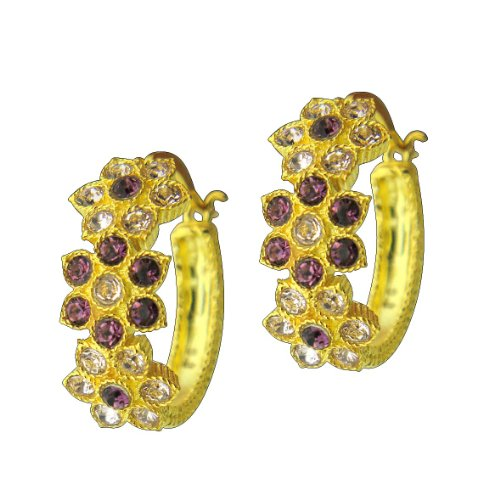 Enchanting Lucia Costin Hoop Earrings with Purple Swarovski Crystal Flowers; Gold Coating - Hypoallergenic; Hand-made in Italy