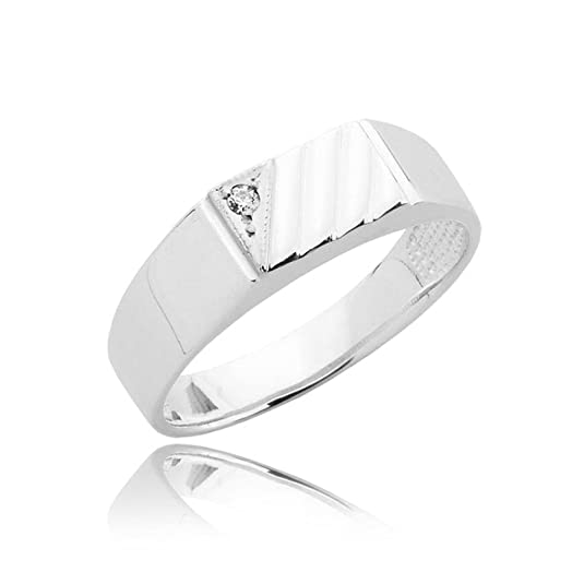 Mens 4.32gr zirconia signet two tone ring