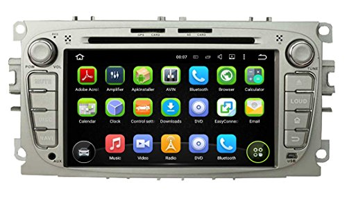 (Silver) 7 Inch Android 5.1 OS 1024x600 Touchscreen Quad Core 1.6G CPU 16G Flash Car DVD GPS for Ford Mondeo(2007-2012)/Focus(2008-2011)/S-Max(2007-2012) (Carros Ford compare prices)