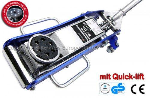 TT6913SL-Blau-Aluminium-Wagenheber-15T-80mm-375mm-mit-LED-Quicklift-TV-GS-fr-Racing-Sportwagen-Rennsport