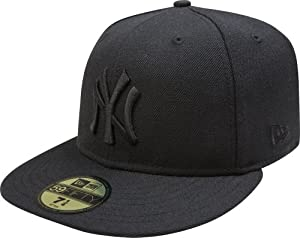 MLB New York Yankees Black on Black 59FIFTY Fitted Cap, 7
