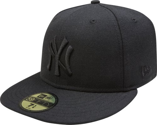 MLB New York Yankees Black on Black 59FIFTY Fitted Cap, 7 1/8