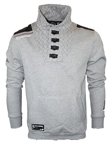New Mens Grey Rawcraft Drogba Designer Funnel High Neck Sweatshirt Jumper M