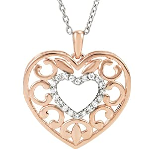 Genuine IceCarats Designer Jewelry Gift Sterling Silver Diamond Heart Fashion Necklace. 18 Inch Diamond Heart Fashion Necklace In Sterling Silver