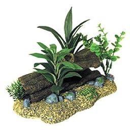 Exotic Environments Log Cavern with Plants Aquarium Ornament