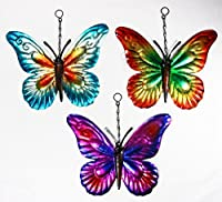 Set of 3 Metal Hanging Butterfly Garden Ornaments Wall Art Metallic Butterflies from PMS