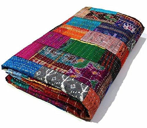 Queen Size Patchwork Silk Kantha Quilt 90x108 Inch Silk Bedcover Indian Silk Patola Quilt Throw Blanket