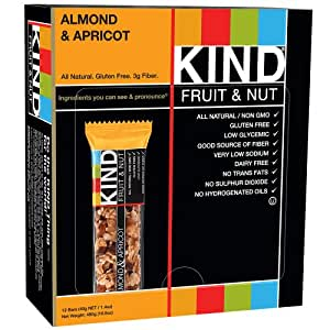 KIND Fruit & Nut, Almond & Apricot, All Natural, Gluten Free Bars ,1.4 Ounce, 12 Count