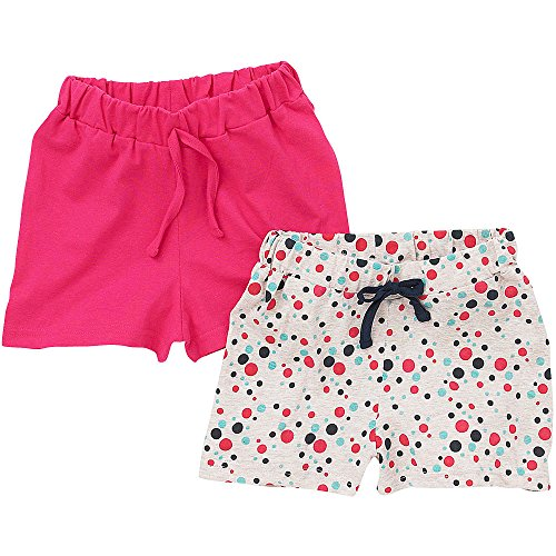 just-essentials-girls-2-pack-spot-print-plain-cotton-summer-holiday-shorts-spot-pink-3-4-years
