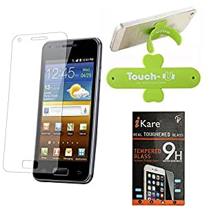 iKare Pack of 2 Premium Shatter Proof Tempered Glass Ultra Clear Screen Protector for HTC Desire 816 + Touch U Mobile Stand