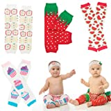 judanzy Yummy Girl 4 Pack of Leg Warmers for Baby & Toddler in Strawberry, Cupcake, Watermelon & Apple