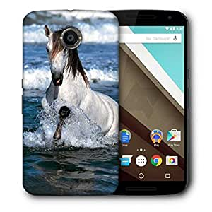 Snoogg White Horse In River Printed Protective Phone Back Case Cover For LG Google Nexus 6