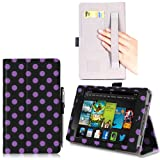 i-BLASON Kindle Fire HDX 7 inch Tablet Leather Case Cover / Stylus (Automatically Wakes and Puts the Kindle Fire HDX to Sleep) (Note Compatible with Kindle Fire HD 7) 3 Year Warranty (Dalmatian / Black)