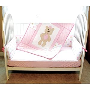 Luvable Friends Girl Bear Bedding Set 3-pc