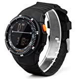 SODIAL(R) Fasion Cool Men's Multi-function Black Rubber Band Sport Wristwatch