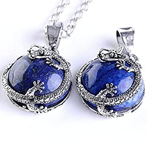 Top Plaza 1pc Blue Lapis Lazuli Gemstone Dangle Pendant Dragon Around Coin Fit Necklace