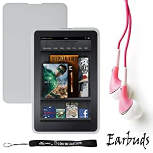 """Frost White Amazon Kindle Fire Tablet Silicone Skin + Includes a Crystal Clear High Quality HD Noise Filter Ear buds Earphones Headphones ( 3.5mm Jack ) + Includes a eBigValue 4"""" Determination Hand Strap"""