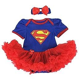 Starkma Supergirl Newborn Infant Baby Girl Set Clothe Cake Dress S01 (L(6-12 month)),White,L(6-12 month)