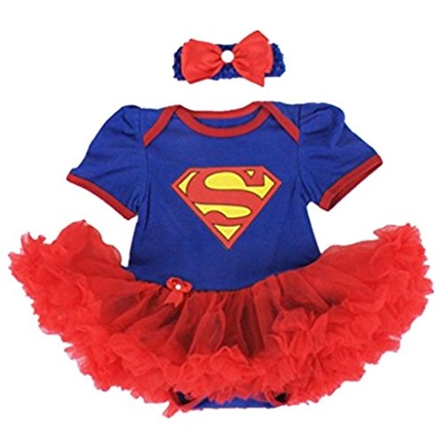 Starkma Supergirl Newborn Infant Baby Girl Set Clothe Cake Dress S01 (L(6-12 month)),White,L(6-12 month)