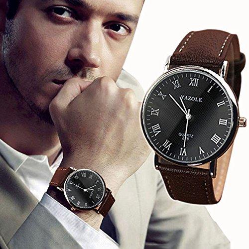 Sannysis Men Faux Leather Quartz Wrist Watch Black