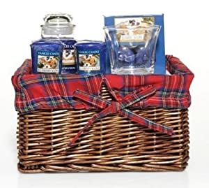 Yankee Candle BLUEBERRY SCONE Gift Basket - 3.7 oz Jar Candle, 2 Votive Candles with a Glass Votive Holder, and 12 Tea Lights