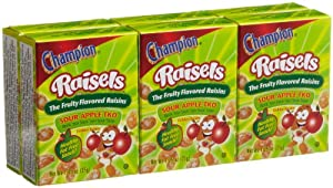 Champion Raisels Sour Apple Raisins (1.25-Ounces), 6-Count Mini Boxes (Pack of 12)