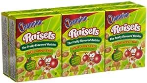 Champion Raisels Sour Apple Raisins (1.25-Ounces), 6-Count Mini Boxes (Pack of 12)