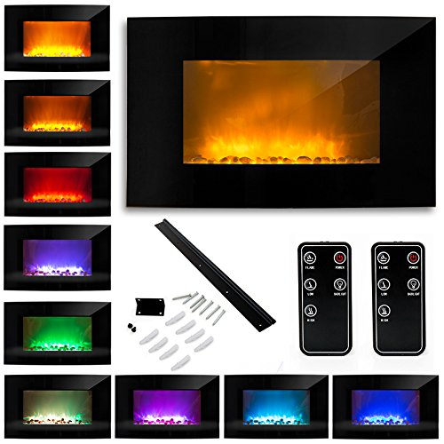 """35"""" 1500W Electric Glass Fireplace Heater Adjustable Heat Natural Stones Black"""