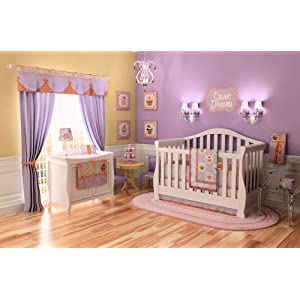 10 Pc Cupcake Baby Crib Nursery Bedding Set Pink / Coral & Purple / Lavender ~New~