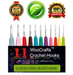 11 Sizes Crochet Hook Set,Ergonomic G...
