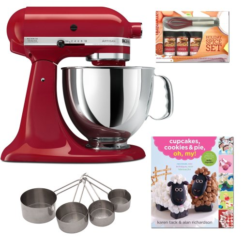 Kitchenaid Ksm150 Artisan 5-Qt. Tilt-Head Stand Mixer Empire Red With Cupcakes, Cookies & Pie, Oh, My! + Mini Whisk Spice Set And Heavy-Duty Stainless Measuring Cup Set front-518125