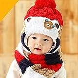 赤ちゃん 幼児 子供 服 ギフト 帽子 キャップ かわいい ボンボン 耳あて 耳カバー 付き ボア ニット帽 マフラー セット 男の子 女の子 兼用 防寒 防風 アウター ベビー キッズ (レッド)
