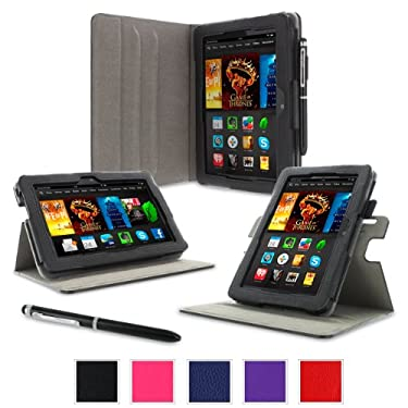 """rooCASE Case for Amazon All- Kindle Fire HDX 7 - Dual-View Folio Case HDX 7"""" Tablet - BLACK (With Auto Wake / Sleep Cover)"""