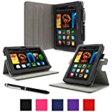 """rooCASE Amazon Kindle Fire HDX 7 Case - (2014 Current Generation) Dual View Multi Angle Tablet 7-Inch 7"""" Stand Cover - BLACK (With Auto Wake / Sleep Cover)"""