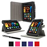 "rooCASE Amazon Kindle Fire HDX 7 Case - Dual View Multi Angle Tablet 7-Inch 7"" Stand Cover - BLACK (With Auto Wake / Sleep Cover)"