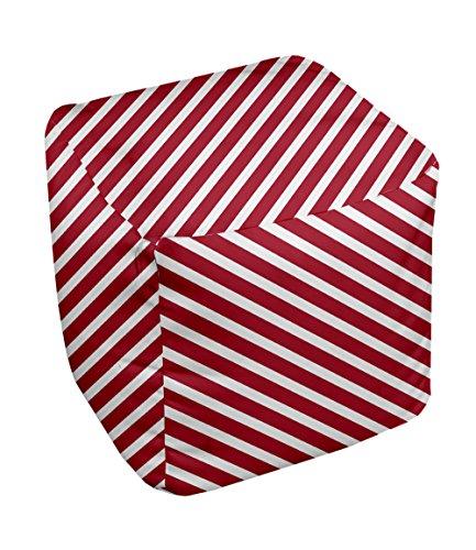 E by design Stripe Pouf, 13-Inch, 2Red