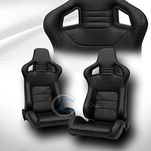 2X UNIVERSAL MU BLK STITCH PVC LEATHER RECLINABLE RACING BUCKET SEATS+SLIDER C01 (Camaro Ss Racing Seats compare prices)