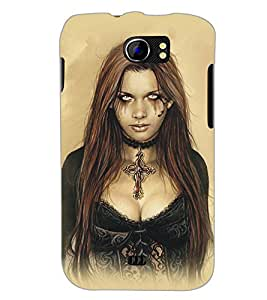 PrintDhaba Scary Girl D-5414 Back Case Cover for MICROMAX A110Q CANVAS 2 PLUS (Multi-Coloured)