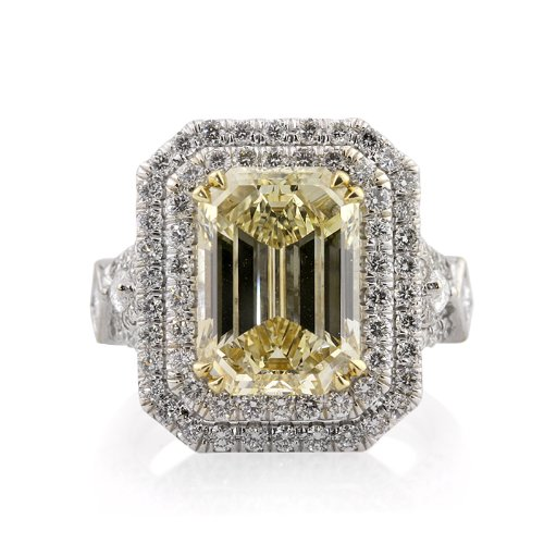 7.37ct Fancy Brownish Yellow Emerald Cut Diamond Engagement Anniversary Ring